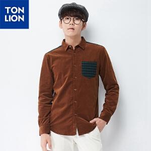 【2件3折价69.9元】唐狮冬(TonLion)男灯芯绒拼接格子加绒休闲长袖衬衫