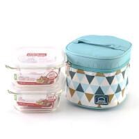 乐扣乐扣 玻璃保鲜饭盒水果便当少女心餐盒小号微波炉 LLG214S904 LLG214S904B 蓝色