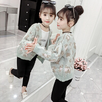 2019春秋韩版洋气女孩宽松毛衣秋装中大童女童针织衫开衫外套