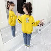 2019新款中大童洋气女孩两件套装潮童装儿童卫衣女童春秋上衣