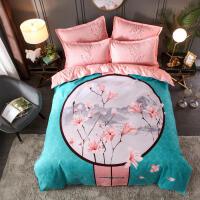 中式婚庆床上用品磨毛加厚4四件套结婚1.5m1.8米床单被套田园分红