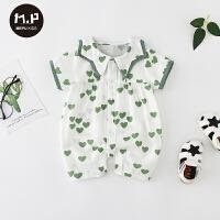 0-3-6-12月宝宝短袖哈衣夏季婴儿连体衣薄款外出服