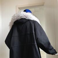 冬款毛领棉衣男士中长款连帽宽松外套 黑色 M
