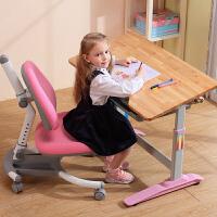 小学生学习桌可升降实木儿童环保木质书桌写字台课桌椅套装小学生家用作业桌 qq椅粉色