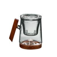 平水祥瑞内银饰玻璃杯茶杯办公水杯带盖男女花茶杯过滤分离泡茶家用水杯