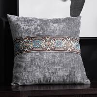 新中式蓝色抱枕靠枕客厅沙发靠垫天鹅绒古典腰枕正方形靠背套含芯
