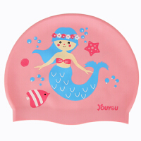 儿童硅胶游泳帽女男童不勒头可爱时尚印花泳镜套装护耳用