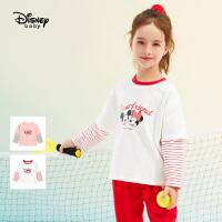 4.17号超品【4折预估价:47.5】迪士尼女童长袖T恤2021春装新款洋气童装假两件儿童上衣