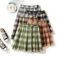 【现货】日系jk制服裙牛油果绿百褶裙女秋冬毛呢短裙格子半身裙子