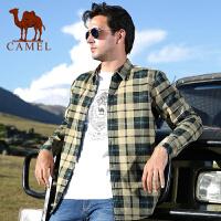 CAMEL骆驼男装 秋冬男士长袖加厚衬衫 直筒格子开衫衣加绒保暖