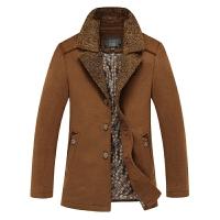 司奇隆秋冬新款男式羊毛呢大衣风衣中长款翻领休闲男装风衣
