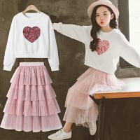 女童秋装套装时髦儿童中大童春秋两件套裙子