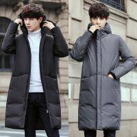 男士羽绒服中长款过膝反季加厚特价青年连帽上衣韩版修身学生外套