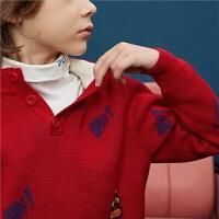 MQD童装大男童2019冬装新款半高领加厚毛衣儿童毛衣男孩针织衫潮