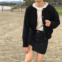 春装韩版甜美花边领长袖套头衬衫+短款针织开衫毛衣外套两件套女