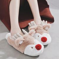 冬季保暖室内包跟棉拖鞋女月子鞋圣诞小鹿棉鞋男士情侣家居鞋