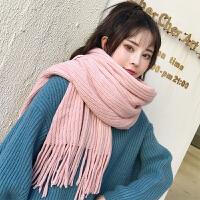 纯色围巾女日系秋冬季韩版ins百搭毛线冬天少女男学生红白色围脖