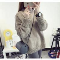 韩版潮衣服冬宽松短款学生线衣 打底衫 半高领加厚毛衣 女套头毛线衣