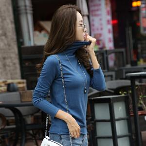 高领毛衣女秋冬新款卷边套头毛衣韩版修身显瘦长袖针织打底衫