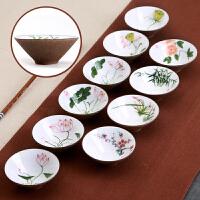 【热卖新品】功夫茶杯陶瓷茶碗手绘品茗杯单白瓷茶具景德镇主人杯小茶盏斗笠杯