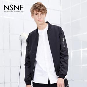 NSNF袖子拼接飞行员短款男士夹克  2017秋冬新款