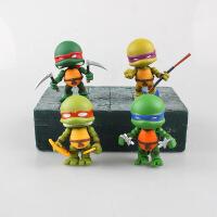 忍者神龟 可动 Q版4款神龟 车载模型摆件公仔玩具 4款神龟-7.5cm