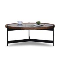 【新品】大理石圆形茶几实木现代简约客厅美式轻奢大小户型铁艺 图片色 整装