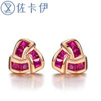 佐卡伊18K玫瑰金红宝石耳钉耳环彩色宝石耳饰女 时尚珠宝礼物
