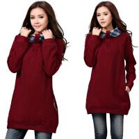 大码女装2017秋季新款韩版卫衣中长款套头加绒加厚外套上衣qc648