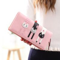 钱包女长款女士钱包日韩版可爱卡通猫咪三只拉链学生潮钱夹零钱包