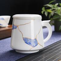 唐丰玉白瓷茶杯凤尾手把泡茶杯单个办公杯家用描金饮水杯内胆过滤