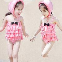 2-9岁 韩国裙式连体儿童游泳衣 女童宝宝泳装 送泳帽 小孩游泳衣