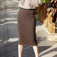 18秋冬新款羊绒包臀女一步裙加厚半身裙修身毛线裙显�C针织裙