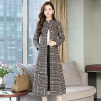 2018秋冬新款韩版流行格子中长款风衣大码修身毛呢外套女士大衣潮 图片色