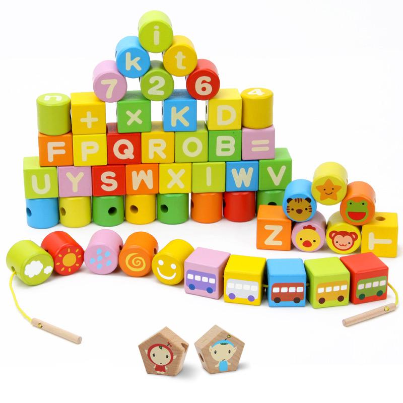 橙爱 方方圆圆 儿童串珠玩具字母数字形状认知串珠积木 益智玩具益智玩具限时钜惠