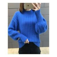 新款时尚短款套头宽松秋冬季加厚针织打底衫半高领毛衣女装潮 均码