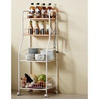 多功能移动厨房置物架卧室收纳架落地蔬菜调味料碗锅家用储物架子 白色 竹纹木色板