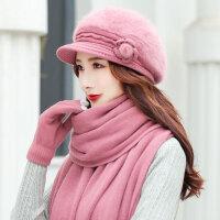 毛线帽冬季保暖贝雷帽奶奶老人冬季中年妈妈舒适保暖帽子
