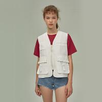 LLANO原创设计港味chic春夏复古V领工装背心马甲无袖上衣女装外套