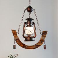 美式乡村餐厅玻璃吊灯创意客厅漫咖啡厅吊灯复古酒吧装饰木艺吊灯 复古煤油吊灯(含光源)