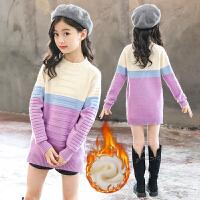 女童毛衣套头儿童圆领中长款针织打底衫女孩加绒加厚洋气保暖上衣