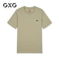 【特价】GXG男装 2021春季休闲时尚印花棕色短袖T恤GY144212CV406