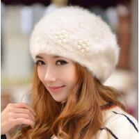 女韩版潮 可爱毛线帽珍珠花朵兔毛帽子女士冬天 贝雷帽秋冬季帽子