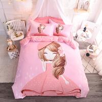 棉四件套全棉公主床单被套男女童三件套儿童单双人床上用品 粉红色 甜心宝贝