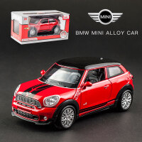宝马迷你MINI合金汽车模型儿童男孩声光玩具车仿真金属回力小汽车 宝马MINI JCW 红色 盒装