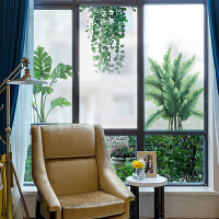 窗纸玻璃贴膜全遮光隔热 落地窗户贴纸玻璃贴膜客厅透光不透明欧式热带植物ins风格d立体A