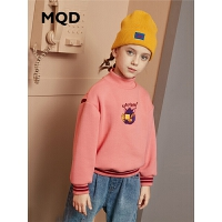 MQD童装加厚女童卫衣2019冬季新款儿童加绒保暖立领