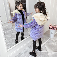 中大童女童加绒加厚洋气外套2019冬季新款儿童棉衣长款棉袄