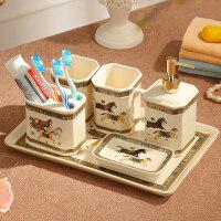 20190718194727203美式欧式卫浴五件套浴室用品刷牙杯漱口杯洗漱套装卫生间陶瓷牙具