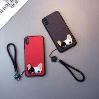 刺绣斗牛犬款苹果6s plus手机壳iphone6情侣8个性7软Xsmax挂绳XR女红色防摔套六七八狗潮